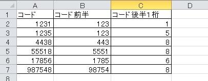 マクロ詳しい方お願いします。 図のようにA列に並んでいる数値をBとCに分割したいと思っています。 Cには最後の一桁が入るのですが、どのようにVBAで記述したらいいでしょうか? 関数ではできるの...