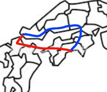 高知駅から下関駅に行くとします。 Yahoo路線で検索すると、土讃線で北上して岡山まで行って岡山から新幹線というルート(青)が出てくるのですが、飛行機に乗って福岡まで行って新幹線で行く方法(赤)...