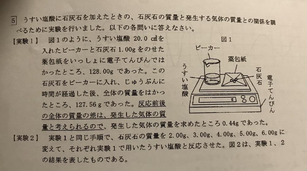 ・実験2で加えた石灰石の質量が6.00gのとき、発生した気体は何gですか。 答え:1.32g ・実験1、2で用いたものと同じ濃度のうすい塩酸60.0㎤に石灰水11.00gを加えて反応させたとき...