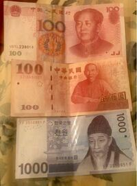 中国と韓国の紙幣ですが、これってどこかで換金出来ますか?日本円でいくらぐらいでしょうか?