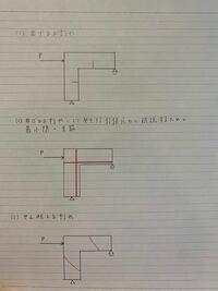鉄筋コンクリート構造のひび割れ発生位置、配筋の問題の答え合わせをしたいです。 以下、問題文です。 図の鉄筋コンクリート構造の架構が荷重Pを受けているとき、(1)発生する曲げひび割れの位置、(2)曲げモー...