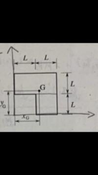 工業力学、問題です。 下の図の平板の質量mと重心位置(x.y)を求めよ。ただし、L=1m、平板の厚さ1cm、密度8000kg/mの3乗とする。 どなたか、解答よろしくお願いします。