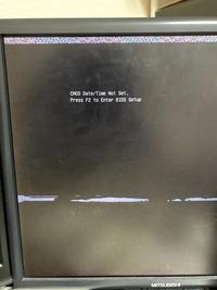 パソコンを起動してF2でBIOSに入ろうとしましたが、画面上部にノイズ? のようなものが出てそこから一向に進みません。解決策をご存知の方がいらっしゃいましたら、教えていただけないでしょうか。ちなみにPCはNEC Mate ME-Fと呼ばれるPCです。 よろしくお願いします。