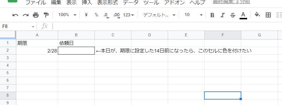 googleスプレッドシートで、 本日が設定した日付の14日前だったら場合に、 該当のセルに色を付ける条件書式はどの様にしたら良いか 教えて頂けますでしょうか。