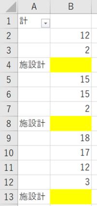 エクセルで黄色いセルに空白から空白までの合計値を表示する方法を教えてください。 例:B4には、B2~3の計を  B8には、B5~7の計を というイメージです。  空白から空白までのセルの数がばらばらなので、オー...