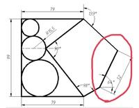 jw_cadの作図について質問です(T-T)  図の赤丸部分をどうしても描くことが出来ません。  どうやって描けるのか教えていただきたいです。