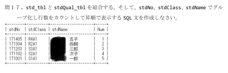 SQLで写真の問題を教えてください。 黒いところは苗字が入ります。