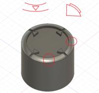 Fusion360 曲面 オフセット平面 フィレット について  Fusion360初めて5日目くらいの初心者です フィレットで面取りした面にスケッチを描いて押し出す方法はどのようにすればいいでしょうか  中にあるような三角...