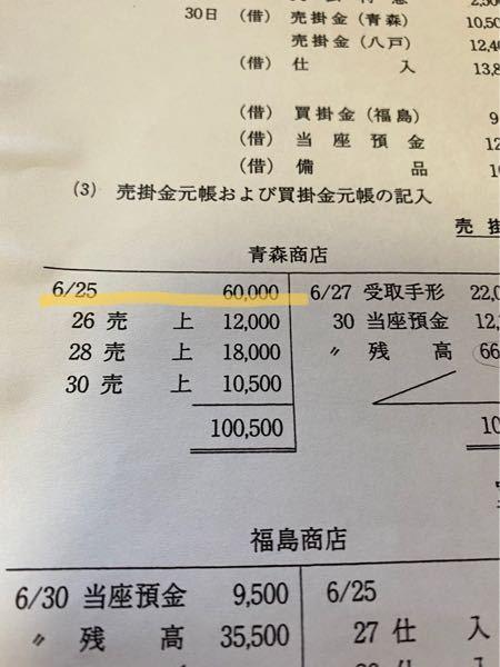 合計試算表と諸取引にもとづいて、合計残高試算表と売掛金元帳を作成する問題で、合計試算表の日付が6/25、諸取引が6/26~30日まで書いてあったとして、売掛金元帳の6/25の金額はどこから分かり...