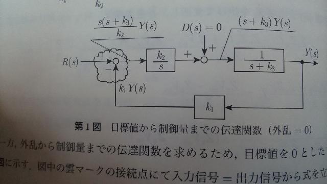 エネルギー管理士(電気分野) 2018 問題5 自動制御についてご指導下さい。 写真のブロック線図で 解答解説では、加え合わせ点(雲マーク部分)で 入力信号=出力信号 R(s)-k1Y(s) =...