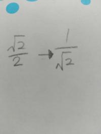 2分のルート2を2ルート分の1になおすやり方(?) どうやったらそうなるんですか?有理化するんですか?
