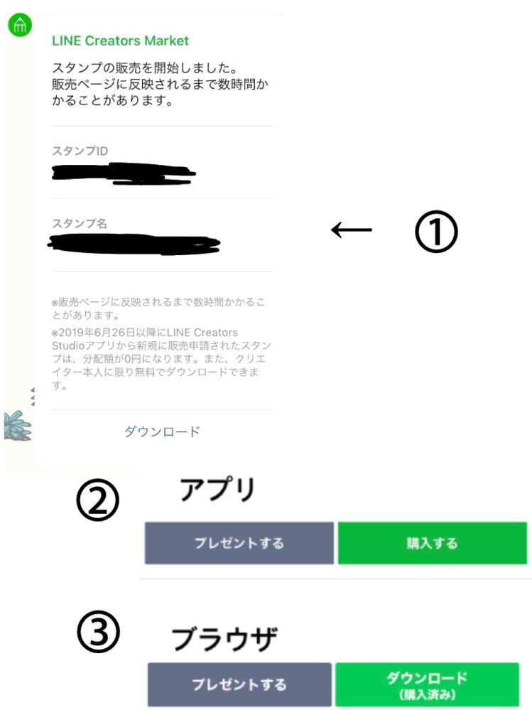 LINECREATORSで自作したスタンプについて 自作したスタンプを無料でダウンロードできるように設定したのですが、LINECREATORSからトークで送られてきたダウンロードのボタン(※①)...