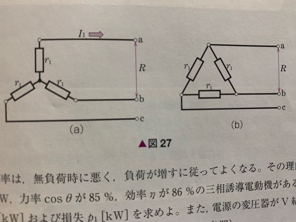 図27は、三相誘導電動機の、一次巻線を示す。図aはy結線、図bはΔ結線である。一層分の抵抗r1、2線間で測定した抵抗をRとするとき、図aではr1=R/2、図bではr1=3R/2になるが、特性を求...