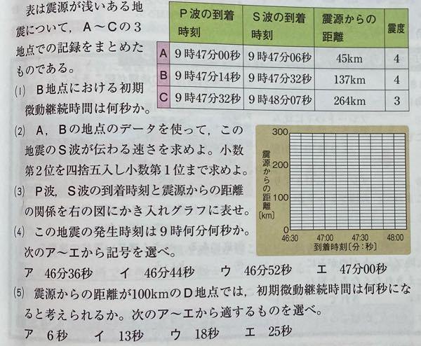明日テストなので至急お願いします!!! こちらの問題の2番と4番の問題の答えと解説を教えてほしいです(--;) このデータだけで何故地震の発生時刻が分かるんですか?