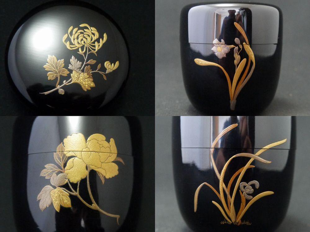 お棗に蒔絵で描かれている、四つの花はなんでしょうか?(写真添付)。菊、蘭、ユリ、牡丹でしょうか?? ご教示頂けないでしょうか。宜しくお願い致します。