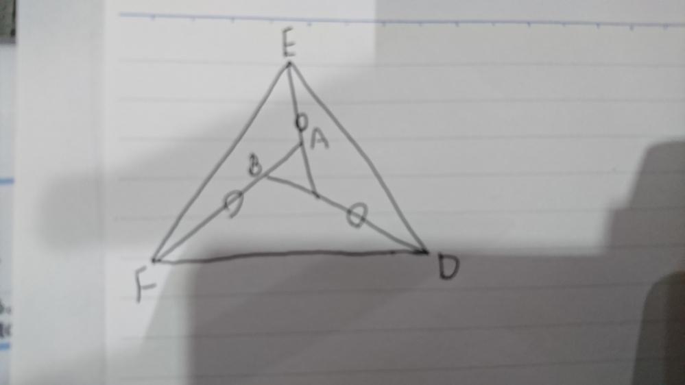 証明の問題です。 わからず困っています。 正三角形ABCの辺BC、CA、ABを図のように延長して、その上にD、E、Fを CD=AE=BFとなるようにすれば、三角形DEFは正三角形であることを証明しなさい。 よろしくお願いいたします。