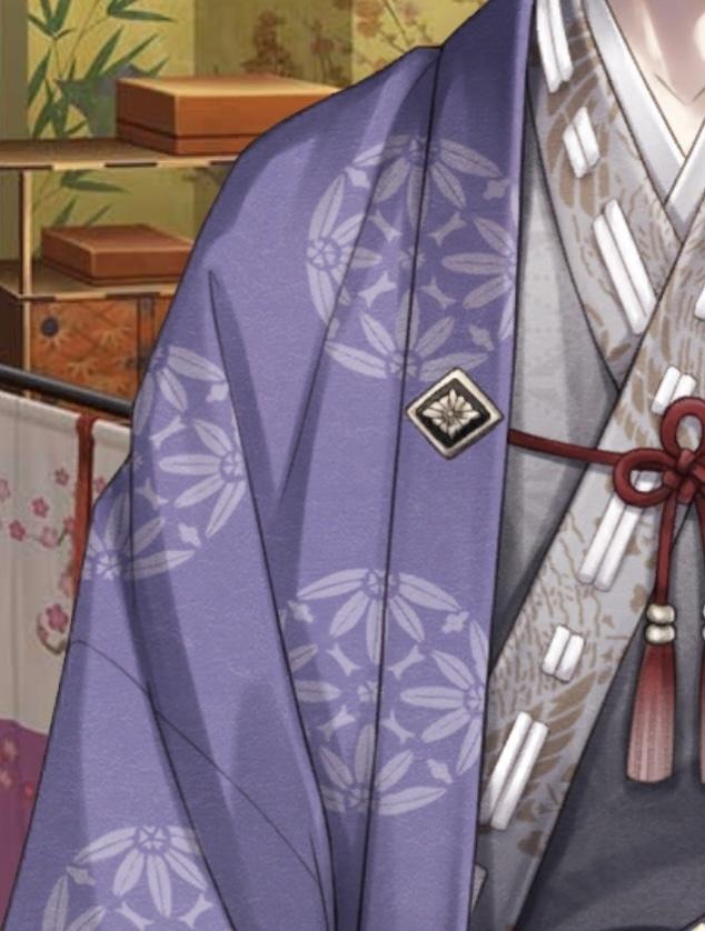 写真の紫色の着物の柄を知りたいです。 なにか名前などはあるのでしょうか? 分かる方教えてください。よろしくお願い致します。 (イケメン源氏伝の源義経が着ている物です)