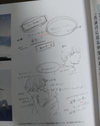 日本語が少しわかる外国人です。 イラストレータのloundrawさんが好きで、その画集を買って見ていますが 彼が「君は月夜に光り輝く」という小説のカバーイラストを描いた時 書いたメモの字が読めなくてお聞きします。 添付した画像の赤い線のところ(二か所あります)ですが、  1.リアルと地XYY ここでX(恐らく漢字)とYY(恐らくひらがな)の字が読めません。 (ちなみに、その次の文は恐らく「街...