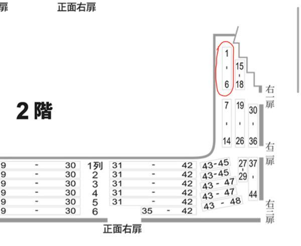 新橋演舞場の座席について、「2階 右一扉 右列 ◯番」というのは、座席自体は列表記ではなく、◯番の番号の座席という認識であっていますか?(わかりにくくてすみません) 例えば、「2階 右一扉 右列 2番」だと画像の丸で囲ってあるうちの、2番目の席、ということでしょうか?