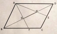 平行四辺形ABCD BD=12cm BF︰FC=2︰1 点Eは辺CDの中点 線分GHの長さを求めよ この問題の解き方分かりやすく教えてください。