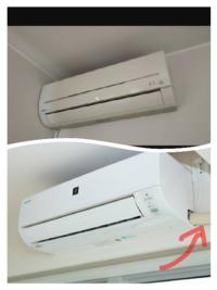 エアコンって上のようにホースがないものと、下の画像の赤矢印の部分のようにホースがあるものがありますが、上の画像のエアコンはドレンホースはないんでしょうか? ゴキブリの侵入を防ぐためホースに防虫キャップをつけると書いてありましたが、この場合どうすればいいですか?