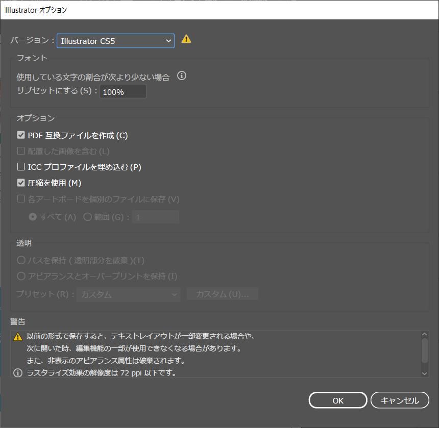 Illustrator2021とCS5の互換性について質問です。 CS5で文章をレイアウトしたものをいただきました。その際、環境にないフォントをデフォルトのフォントで置換されましたと出て、アクティベートも出来なかったので、とりあえずこのままで こちら2021で6文字程を足して、アウトラインをせず CS5で保存、PDF互換ファイルを作成をチェックをして、相手側へ渡しました。 (アウトラインをすると何故か、あちらでは消えてるようなので) そして、相手側が印刷屋に入稿のため、アウトライン、コピペをしようとしたのですが、上手くいかないそうなのです。 どなたか教えてください。 お願いします!