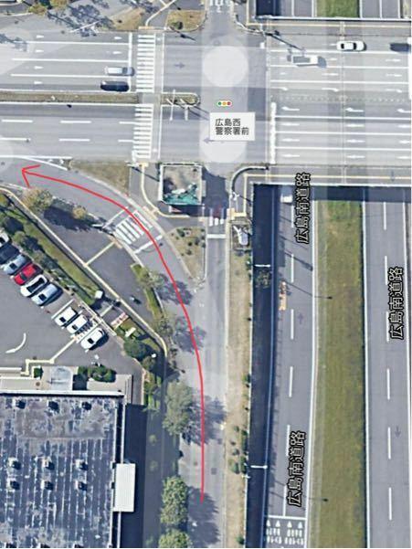 矢印の通りに進みたい時、「広島西警察署前」と書いてある信号は無視して進んで良いんですか?