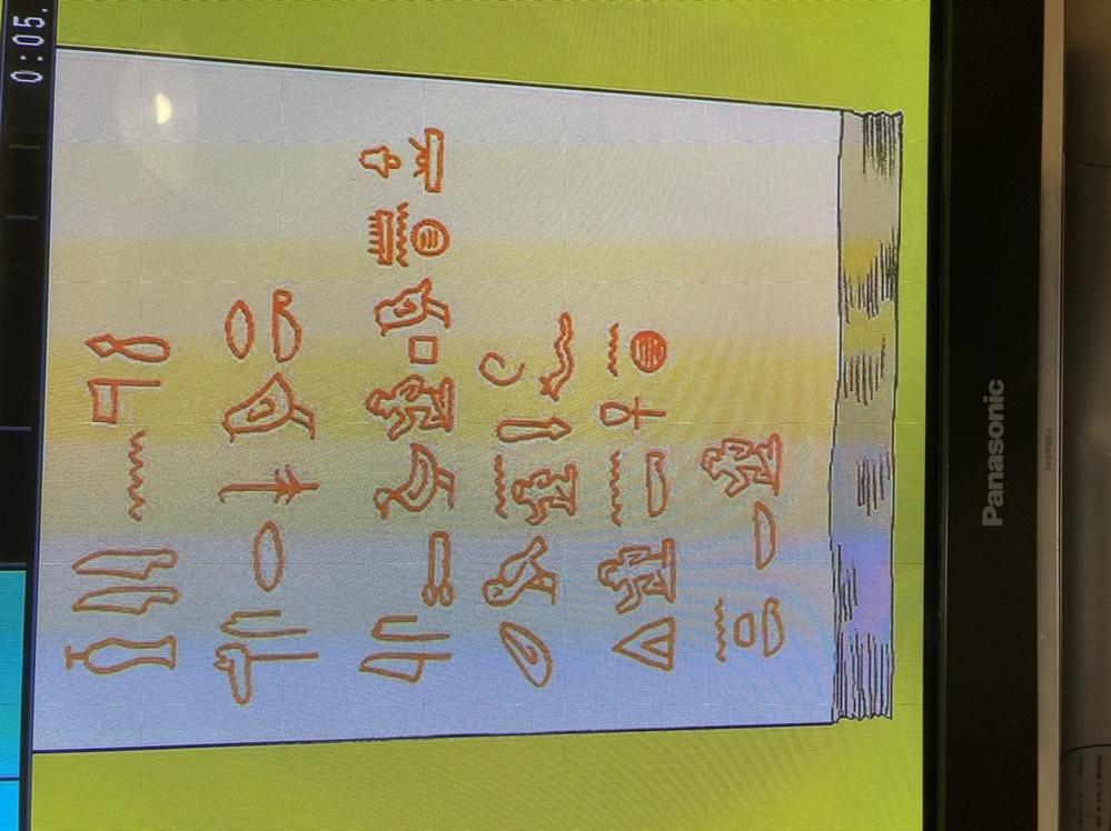 お願いがあります。 これはEテレのビジュチューンという番組で表示された、ヒエログリフという文字(昔エジプトで使われていた象形文字)です。 いくら調べても意味が分からなくて、、、。どなたかわかる方...