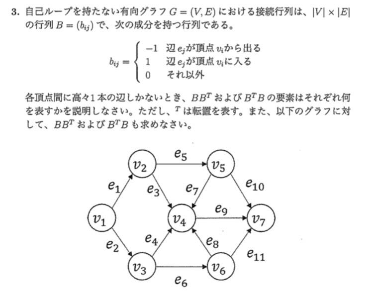 グラフ理論についての質問です。 この問題におけるB' Bの要素がなにを表すかについてお教えいただきたいです。 B B'に関しては対角成分が頂点の持つ辺の数、それ以外の成分がどの頂点間で辺を共有し...