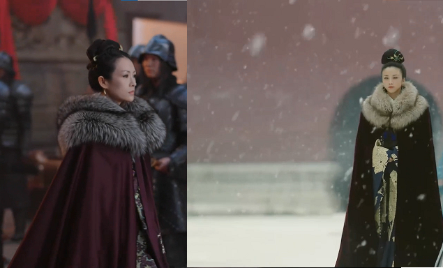 中国歴史ドラマで画像のように女性が毛皮の付いたマントを着ているのが それぞれ別作品なのにありました。これって中国ドラマでは、よくあるのですか? このようなマントを着た女性が出てくる作品はほかにも...