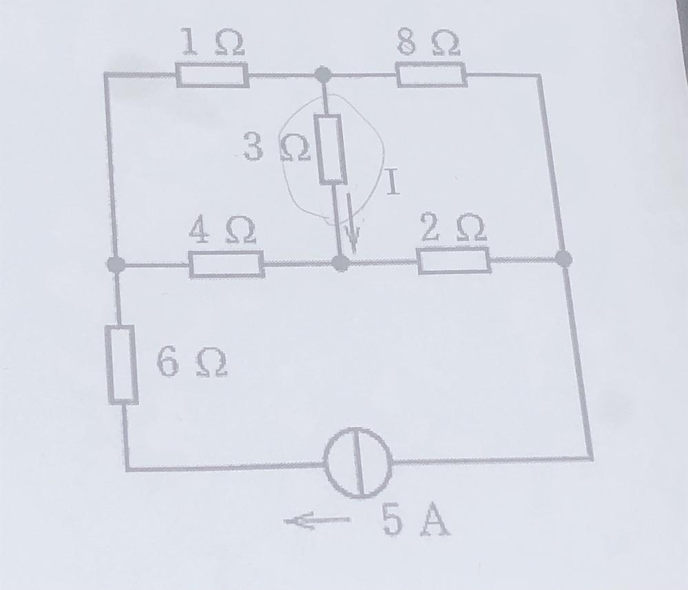 この回路の丸く囲んだ電流Iの部分をキルヒホッフの法則を用いて求めたいです。 テブナンの定理はできたのですが、これがどうも上手くいかなくて すみませんが、解き方も添えてお願いしますm(_ _)m