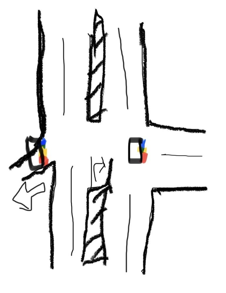 二段階右折について質問します。 二段回目の信号が こちらを向いていない場合は 二段階右折しなくてもいいでしょうか? 十字路の左は一通なので 右側にしか信号がみえないです わかりにくければすみません。