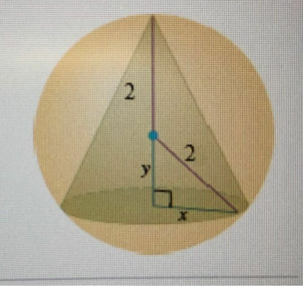 写真の半径2の球の内部にある円錐の体積の最大値の求め方を教えてください。