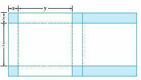 蓋付きの箱は、5インチ×8インチの長方形の厚紙を使って作ります。そのためには、図の斜線部分を切り取り、点線部分で折り曲げます。 体積を最大にするx、y、zは何ですか? これについて解答解説を教えて下さい。m(._.)m