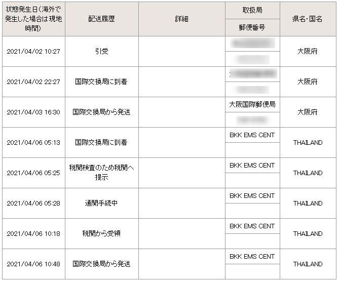日本からタイにEMSで荷物を発送しましたが、約4日でタイ(国際交換局)に到着したものの4/6(国際交換局から発送)から、約10日間、 追跡情報が更新されていません。 これは国際交換局から地方郵便局に発送中ということなのでしょうか(それにしては長いような気がします) それとも何かトラブルが発送したのでしょうか? あまり、国際郵便の経験がなく、どうしてよいのかわかりません。 ちなみに送り主とは連絡がつかない状況です。 このようにタイの国際交換局から発送の状態で10日程度、更新されないのは普通のことなのでしょうか?