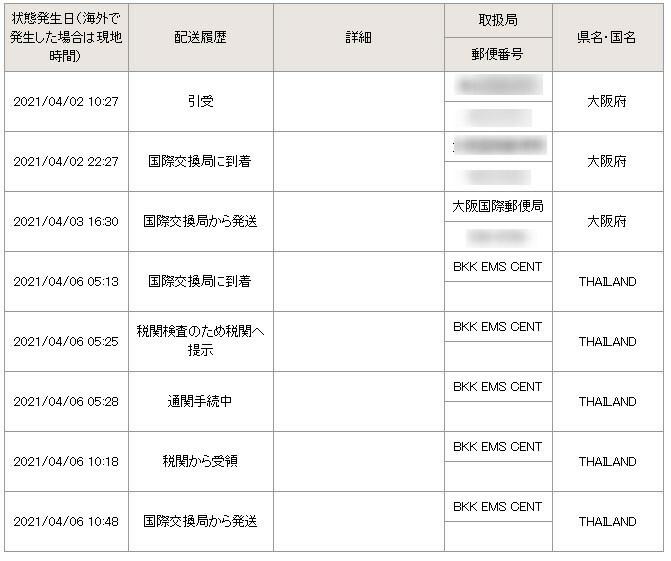 日本からタイにEMSで荷物を発送しましたが、約4日でタイ(国際交換局)に到着したものの4/6(国際交換局から発送)から、約10日間、 追跡情報が更新されていません。 これは国際交換局から地方郵便局に発送中ということなのでしょうか(それにしては長いような気がします) それとも何かトラブルが発送したのでしょうか? あまり、国際郵便の経験がなく、どうしてよいのかわかりません。 ちなみに送り主とは連...