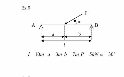 構造力学です。 Pが斜めになってる場合、どう荷重を考えればよいのでしょうか?