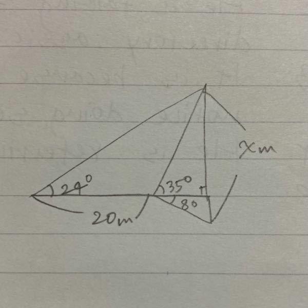 xの値を、三角関数を用いて計算付きで教えてください。図は適当に書いたものなので正確さは気にしないでください。