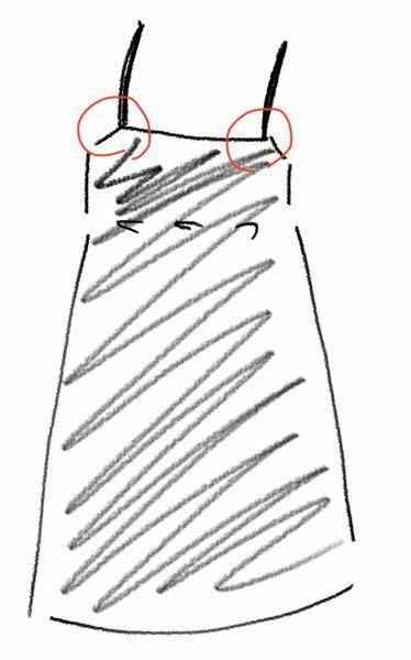 サロペットスカート?ワンピースを買いました。 ですがデニム生地で全体的に重く、保存方法に悩んでいます。ハンガーにかけると画像赤丸の部分がちぎれそうで怖いです。 肩紐の部分が細いので、着ている時も重みでちぎれてしまわないか不安です。 対処法知ってる方教えてください。