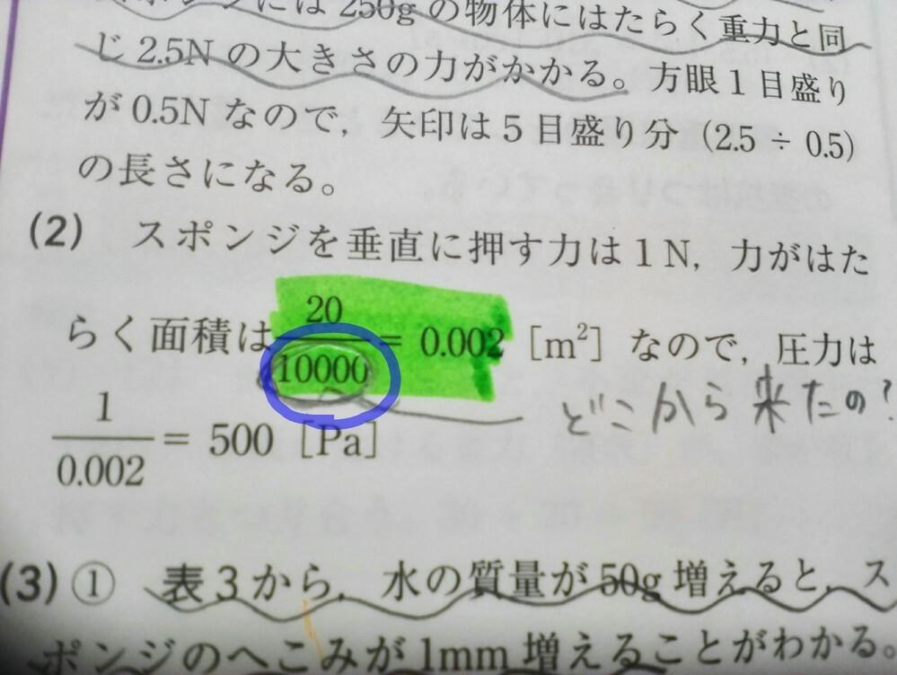 この10000って何ですか? 力が働く面積の計算方法なのですか?
