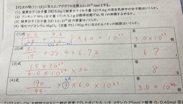 【チップ50枚】化学、mol質量について。これ答えこれであっていますか? 1番は6.0×10^22とあるのですが、6.0×10^23ですか?