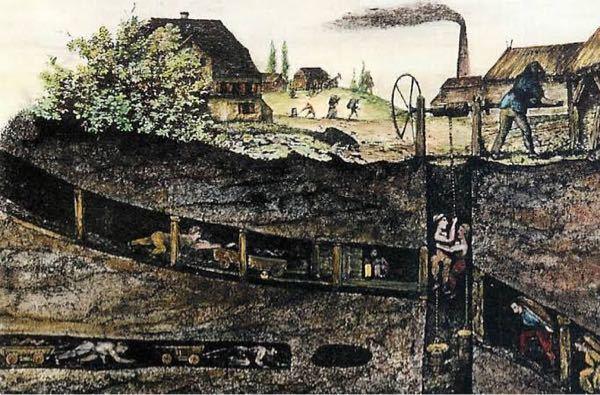 至急 歴史です。 ①子供たちが炭鉱の働き手となっているのはなぜですか? ②炭鉱への出入りに滑車を使っているのはなぜですか?