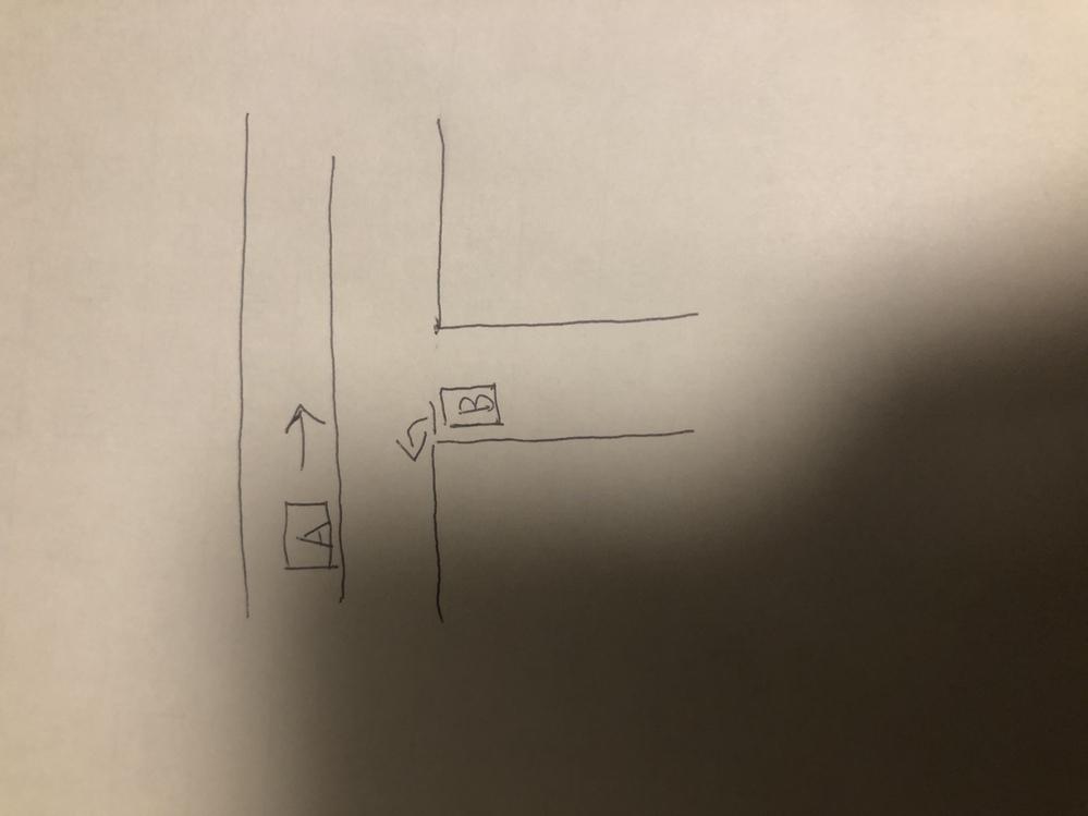 T字路でBの車は止まれがあります。 そして反対車線でAが走っています。 もしくは左折前に直進車が見えました。 この場合左折することはできませんか?
