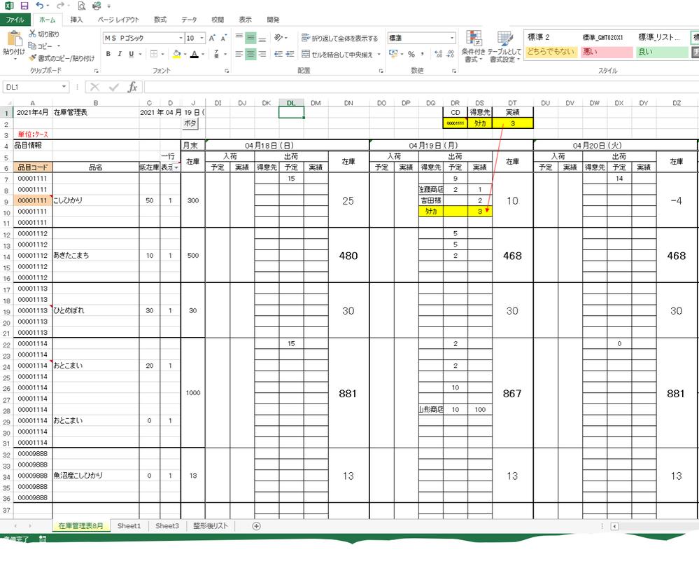 Excelで再度のご質問になります。 途中まで作成して頂きました。 その方には本当に感謝いたします。 また申し訳ありませんでした。 シート:日々在庫表一覧へ、 商品コード検索し抽出し、得意先名と実績値(=出荷数)を入力すると その得意先名と数字が 当日の実績値へ反映されるようにしたいのですが、 知識が無くできません。一番上にその抽出するBOXのようなものを作りました (赤枠部分)どのような形でも構いません。 日々在庫表更新されますが、当日の在庫表へ商品コードで検索し、合致したところの実績に手入力した得意先名と実績値を反映させたいです。 日々、手入力で 商品コード欄に 出荷数を入力しているのですが、 商品コードが500くらいあり日々探せなくて時間がかかっているので、 検索し入力し手間を省きたいのです。 簡単に作れない事分かっています。 ご教授願います。 ※商品コード 一つにつき、5行あります。 ※当日の在庫表の為 = 当日の日付 に実績値を入力したいです (前回ここは詳しく書いていませんでした) 表も セルが見えるよう変更いたします。