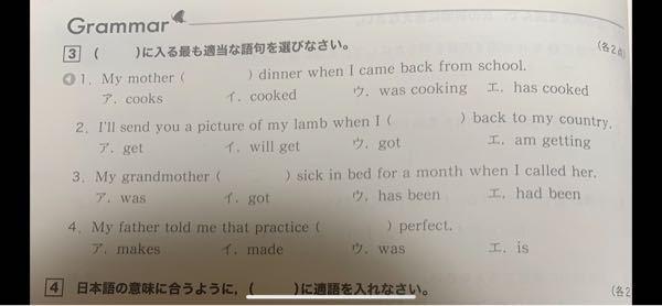 この英語問題の( )に入る英単語を教えてください。お願いします。