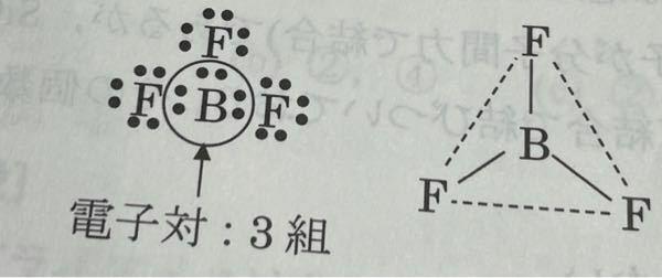 三フッ化ホウ素なんて物質あるんですか? Bな電子にこたりず安定してないですのでないと思ったのですが。 あと分子構造を予測せよってやつで正三角形となっていたのですが三角錐はダメなんですか?