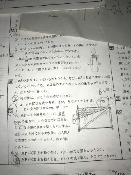 急ぎです!!!4角16の②のグラフの書き方を教えて下さい!!ちなみにこれはY=-10X+110です!