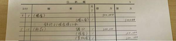 至急、仕訳帳について質問です。 (1)銀行より現金¥500,000を借入れた (2)京都商店より商品¥300,000を仕入れ、代金のうち¥100,000は現金で支払い残額は掛けとした (1)(2)は答え合わせお願いします。(写真)これで合ってますかね? (3)銀行に借入金のうち¥100,000とその利息¥5,000を現金で返済した (4)大阪商店に原価¥200,000の商品を¥260,0...