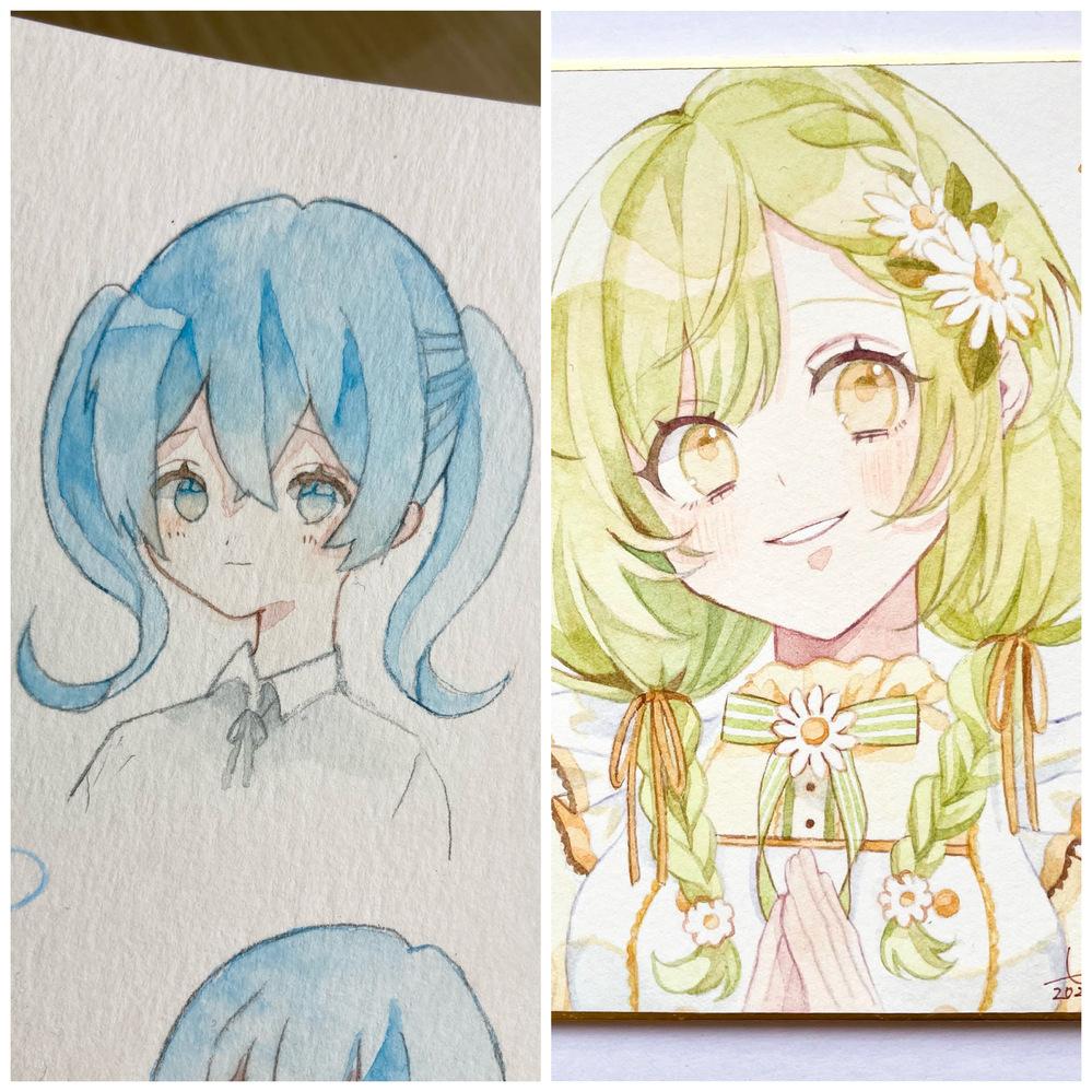 [50枚]趣味でイラストを描いているものです。 以前、シャーペンで線画を描いた際に練り消しで線画を薄くせず、濃いまま色を乗せてしまいました。輪郭線を描いたら顔と髪の色が浮いてしまいました.. 右の画像のように馴染むように輪郭線を描くには、やはり練り消しで線画を薄くした方が良いでしょうか? 練り消しで消すのと消さないのでは、こんなに違いがでるものでしょうか?