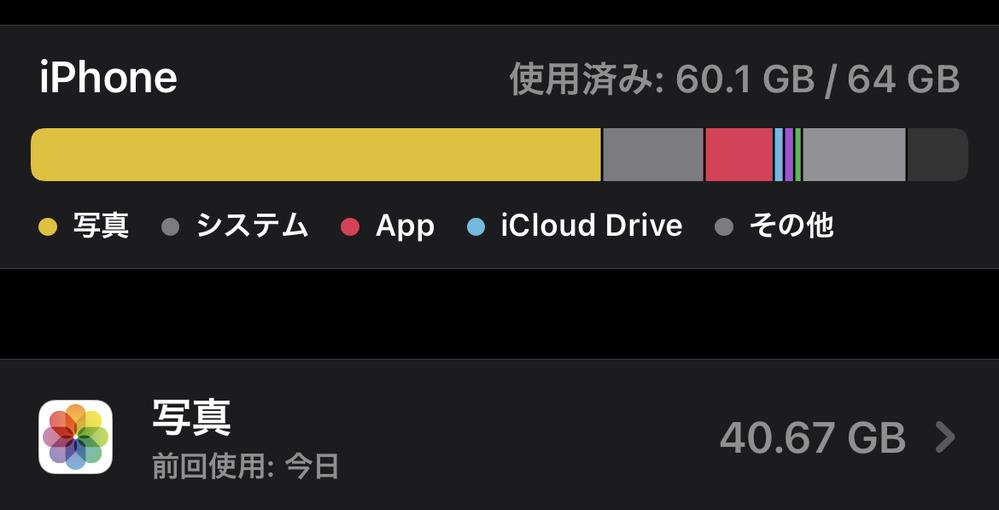 iPhoneストレージ 写真項目についてです。 カメラロールの中に、写真と動画合わせて7枚しか入っていないのに、iPhoneストレージに、写真項目だけで40GB使用していると表示されます。ちなみ...